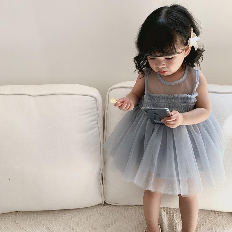 vestido de colete 2020 Verão New Arrival estilo coreano puro algodão cor da moda princesa mangas para meninas bonitos doce do bebê