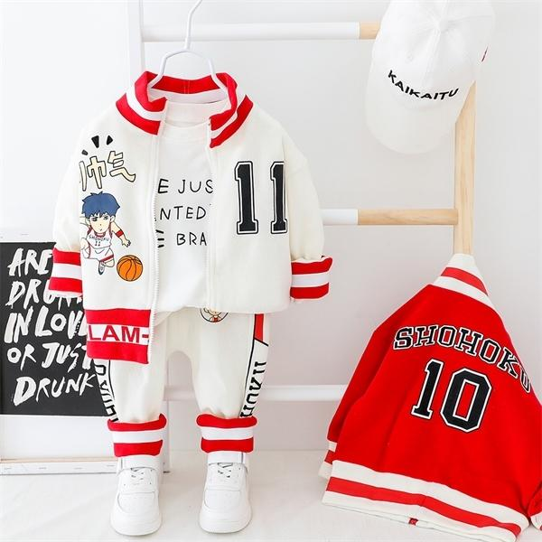 Kid Menino da criança Clothes Zipper infantil casaco + calça Carta bebê Sport Conjunto mangas compridas Outfits Set Amarelo Branco Roupa da criança