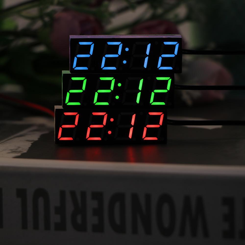 Onever Termometro voltmetro Led Display a LED Temperatura Orologio digitale Timer digitale Verde Azzurro Rosso