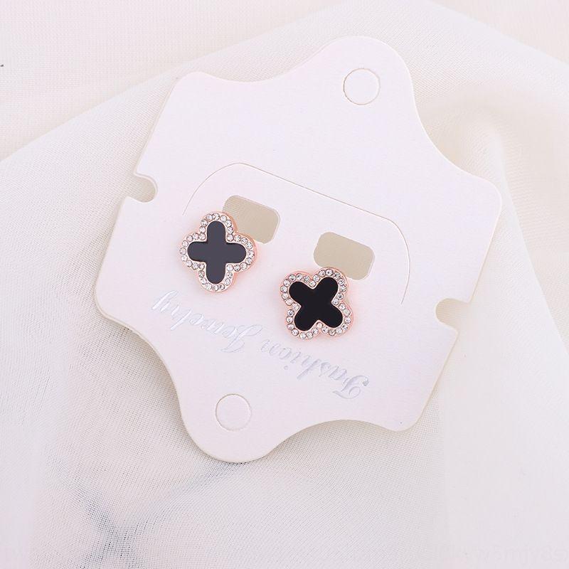 Koreanischen Stil Mode einfachen Diamant vierblättrige Blume Internet Berühmtheit elegant Diamant und Ohrringe Yiwu kleine Waren Ohrringe