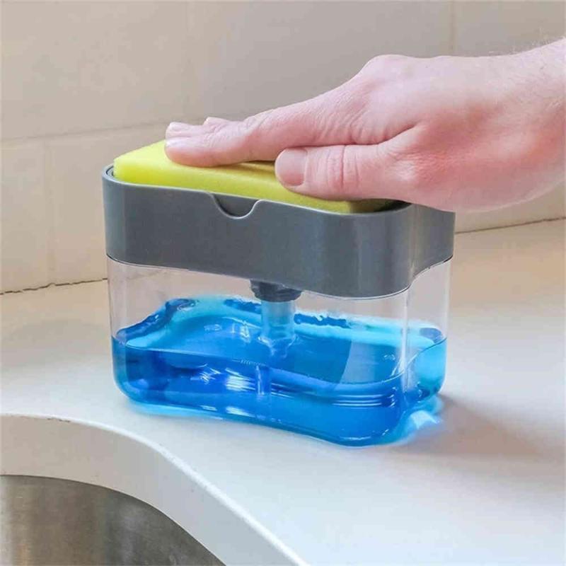 2-in-1 Seifenspender Sponge Caddy Ungiftiger Geruchs- Dispenser Küche Rack kreative Badezimmer Waschen Seife Aufbewahrungsbehälter J50