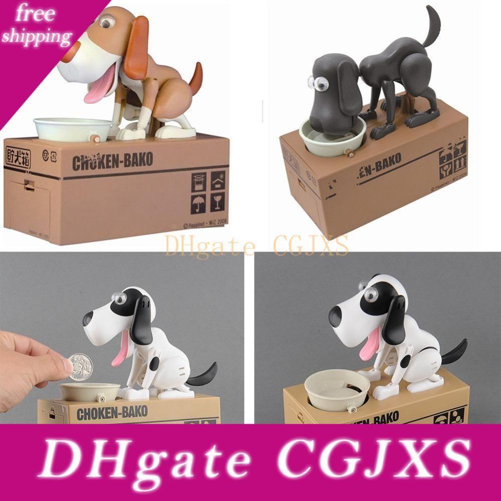 -Calidad por mayor mecánica adorable cachorro hambriento perro robótico Kid Banco de moneda Guardar caja del ahorro de la colección del regalo hucha