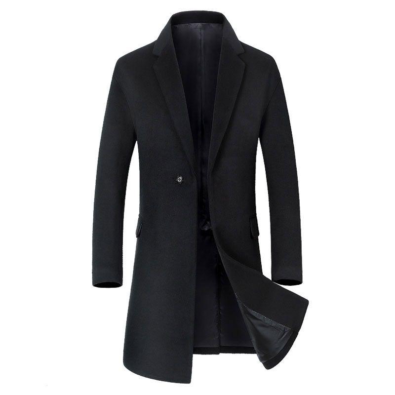 Brasão de Nova Homens Long Seção Trench Fashion Business Casual Masculino Turn Down lã gola do casaco Mens Overcoat Preto Cinza Verde Sugar