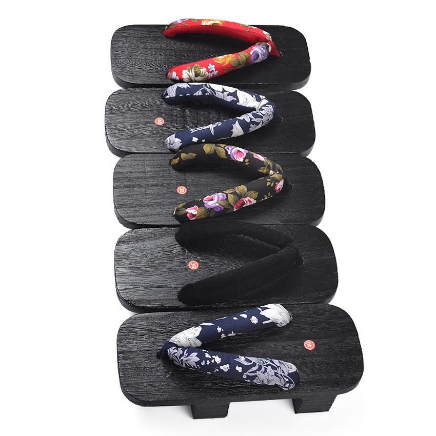 Peine Diseño Japón oriental tradicional kimono Zapatos Samurai Naruto Cosplay sandalias 2 Dientes tacones de madera Hombre Geta Zuecos