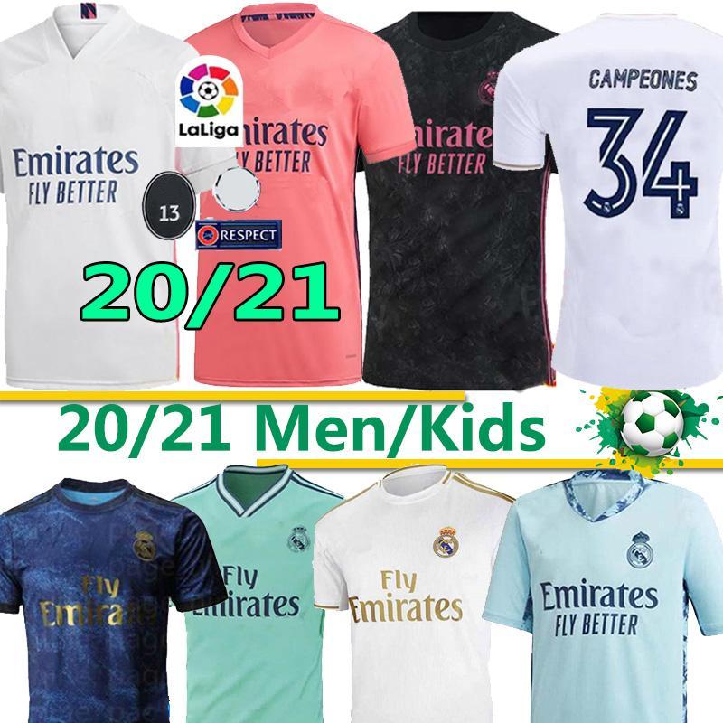 Thaïlande REAL MADRID 20 de maillot 21 de football DANGER SERGIO RAMOS 34 Campeones camiseta le football uniformes chemise hommes + enfants ensembles kit 2020