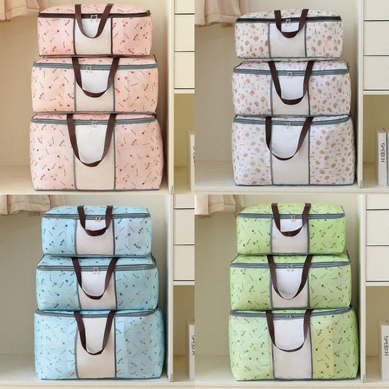 Quilt Non Woven Storage Bag Foldable Clothes Blanket Quilt Sweater Organizer M/L/XL Quilt Bag Holder