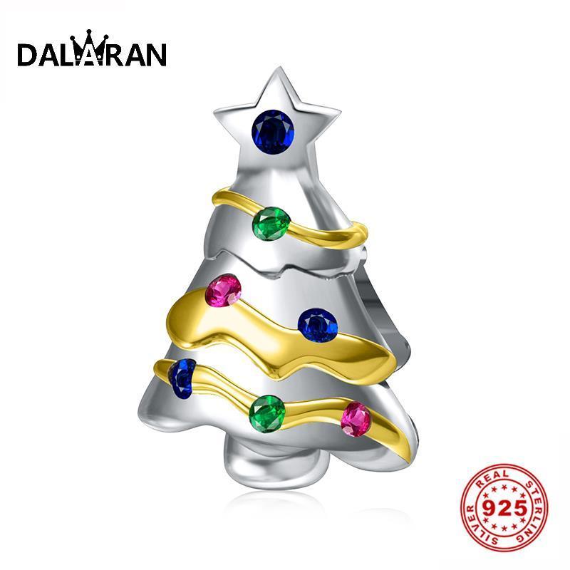 Dalaran 925 Silver Charm CZ chiaro Natale Bead albero per i monili di Diy misura il festival regalo del braccialetto della collana Donne