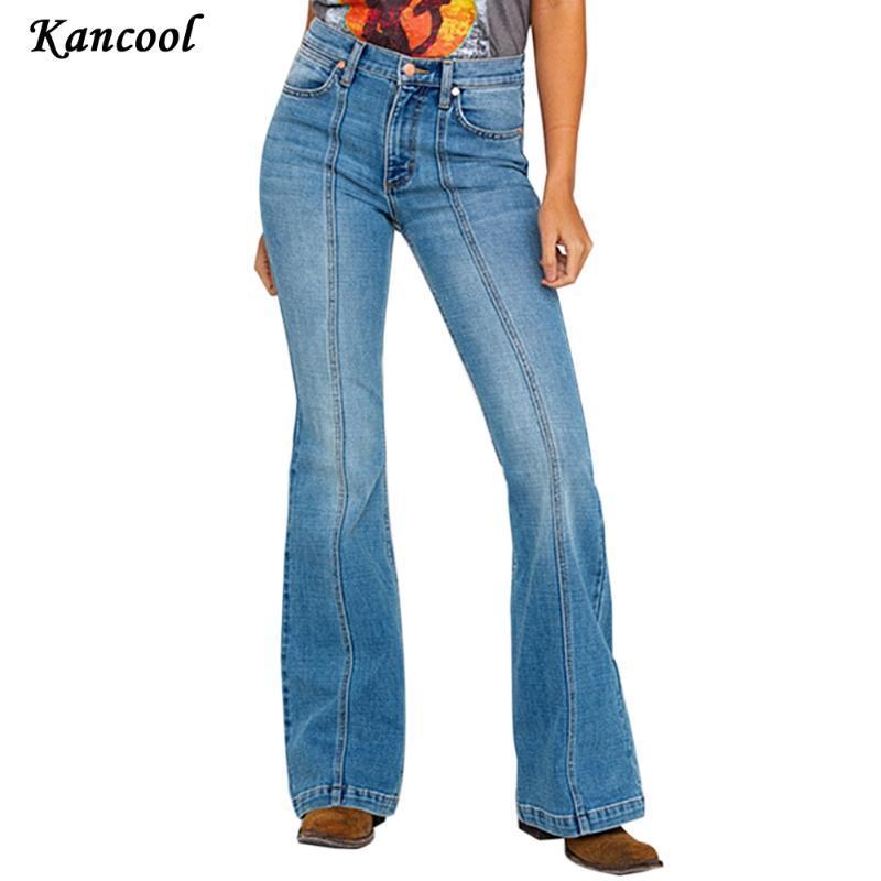 Jeans pour femme Kancool 2021 Mid-Body Boyfriend Flare Pour Femmes Denim Skinny Femme Grande jambe Femme Pantalon Grand Taille