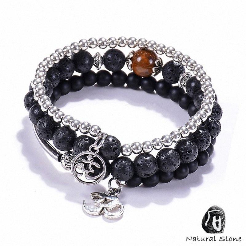 Moda Hombres Mujeres Natural lava los granos de piedra pulseras de cobre Yoga sIG4 joyería del encanto Tager Ojo de múltiples capas de los brazaletes del punk personalizada #