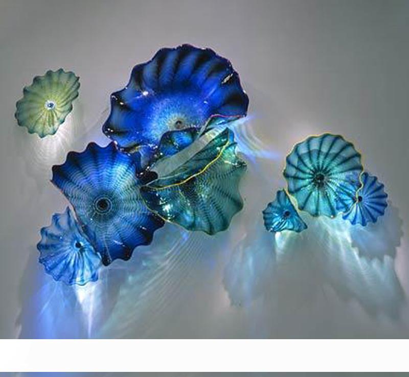 Decoración en color hermoso arte de la pared Blue Sea Wall Mounted Flor artística soplados arte interior de la mano de iluminación placas de cristal de Murano apliques de pared