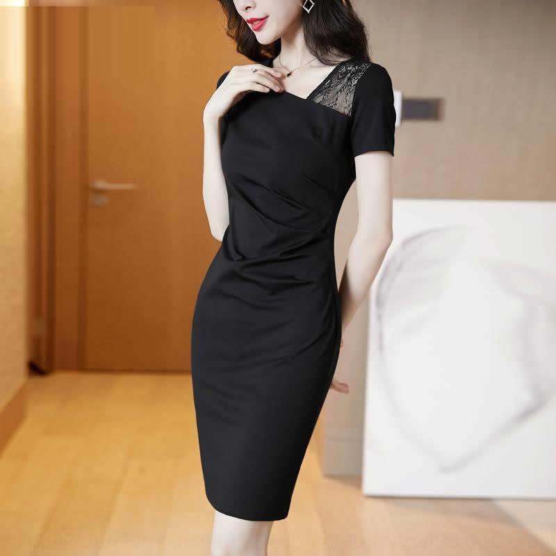 XRcoh grande formato di usura di estate del vestito vestito nero di affari dei bambini 2020 estate nuovo pizzo di modo sottile nera sottile pizzo WHT8o