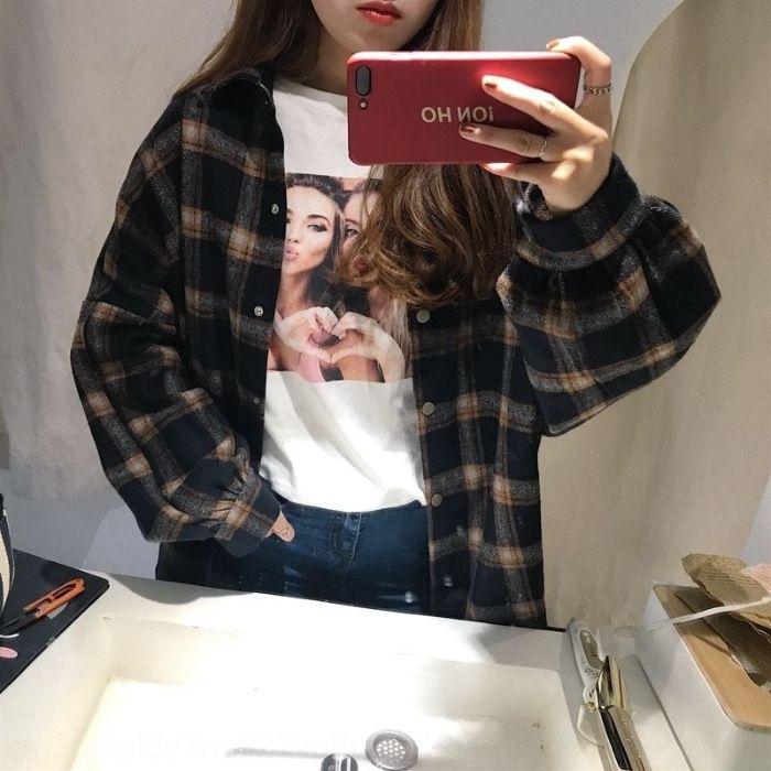 LYEcT ocasional Outono e Inverno emagrecimento estilo solto coreano Plaid engrossado all-jogo casaco de lã da camisa das mulheres de mangas compridas sXk5k camisa coat