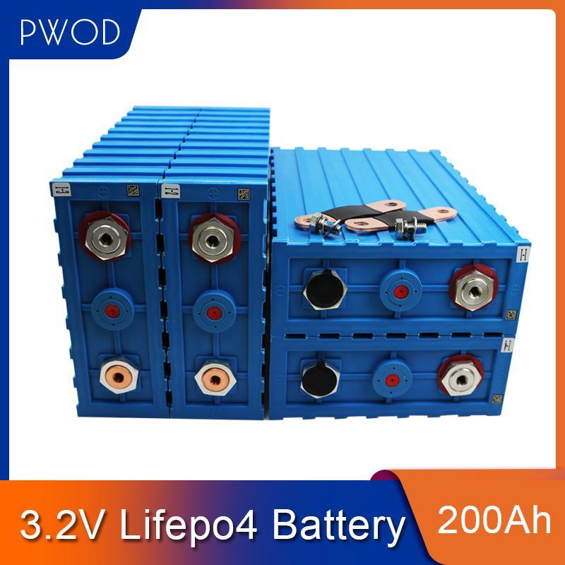 PWOD 4PCS 3.2V 200Ah Zelle NEW CALB SE200 LiFePO4 Akku 12V 24V für Pack EV Solarbatterie US EU Steuerfreie