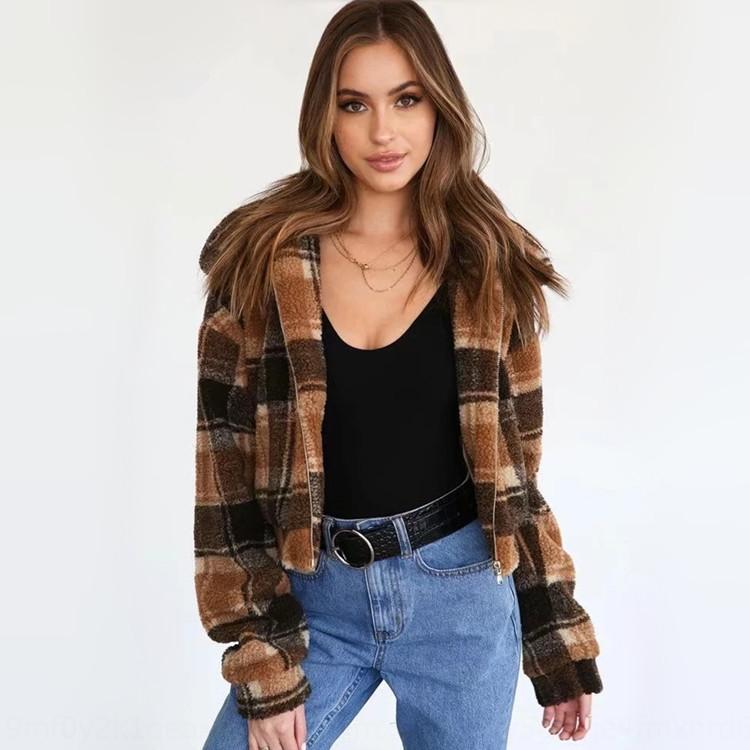 pC1eH chaqueta de moda y tela escocesa Nueva piel de cordero para las mujeres de 19 venta caliente del invierno de la solapa de la cremallera de la cremallera chaqueta de piel de otoño