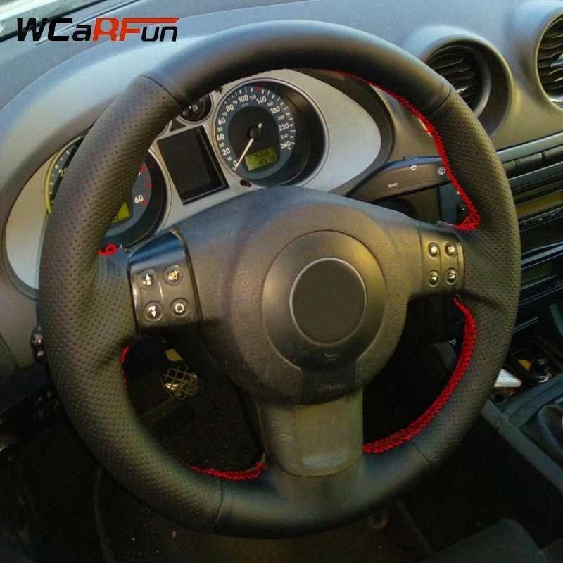 WCaRFun Cousu main noir en cuir artificiel volant de voiture Couverture pour Seat Ibiza 6L Leon 2007 2008 4j4C #