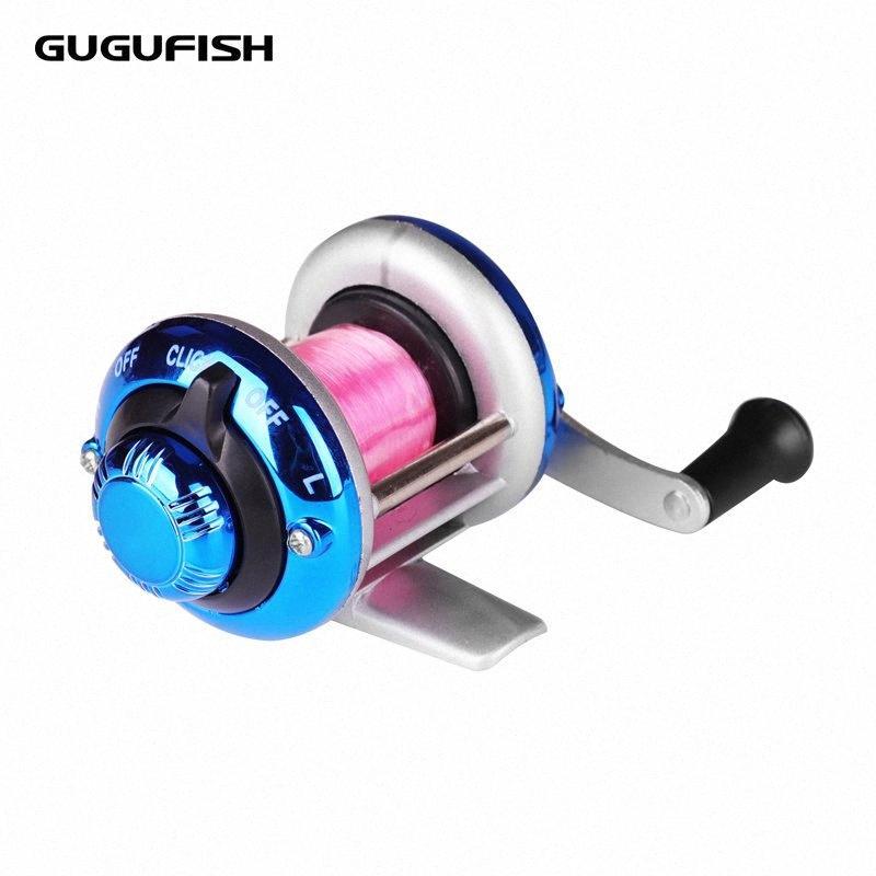 GUGUFISH 50M ligne Mini Bait casting Métal Spinning Bateau de pêche sur glace Bobine poisson d'eau Roue Baitcast Rouleau Bobine 7BWb #