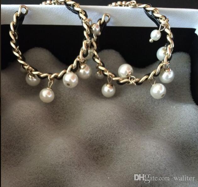 Neu! Mode-Klassiker große Beutel für Geschenk Geben Sie runden Kristallperlenohrring Schmuckmarke Ohrringe für Hochzeit