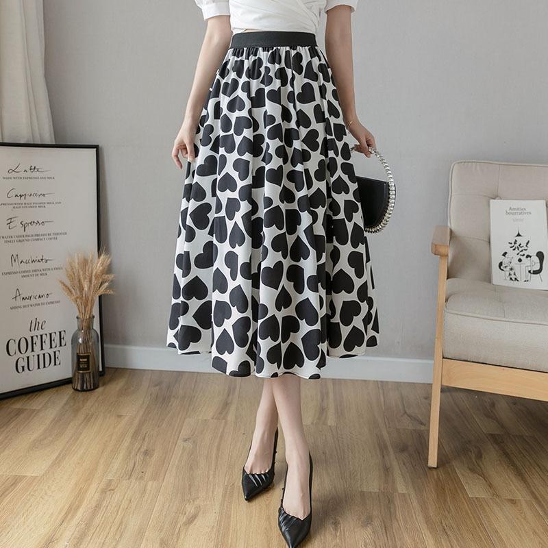 RLprk 2020 verano nuevo estilo europeo amor largo de falda larga falda del vestido de longitud media cintura elástica Un flojos de las mujeres suaves