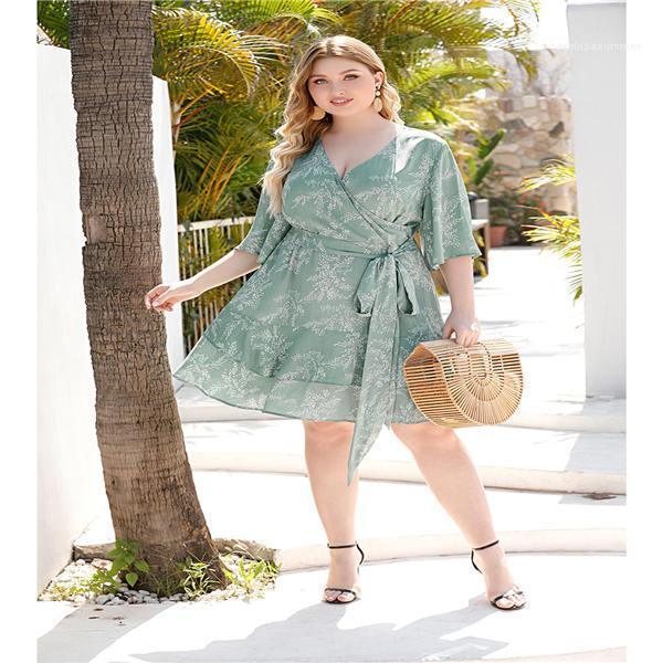 Vestido Dayly vestido de las mujeres ahueca hacia fuera los vestidos elegantes para mujer atractivo delgado del verano V vestido de cuello manga corta para mujer Short