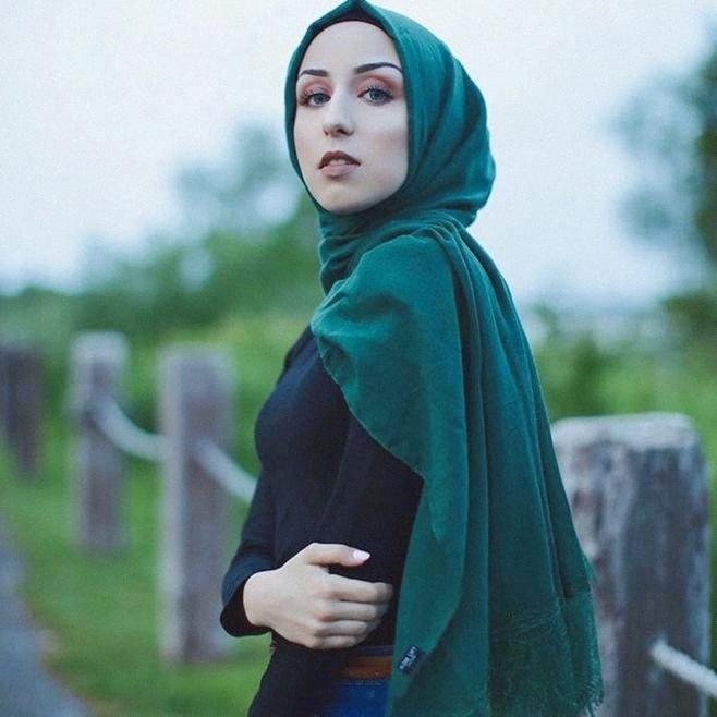 de nuevo de la manera delgada bufandas de algodón liso color de las mujeres abrigo de la cabeza pañuelo musulmán Hijabs Con la pestaña del lado del doble de largo del cordón Mantón hMfD #