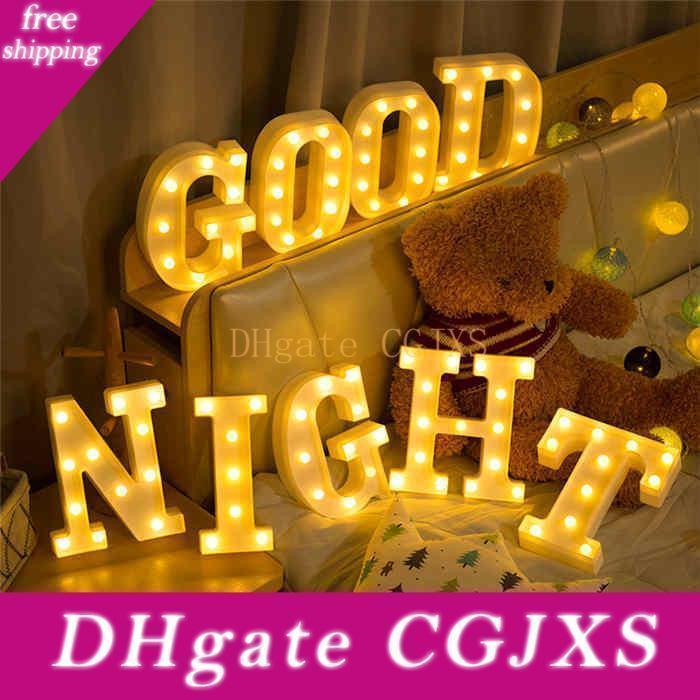 Neuheit Brief Led-Nachtlicht Weiß 26 Buchstaben Led Atmosphäre Lampe buchstabieren Namen Wort für Bar Cafe Hochzeit Alphabet Dekoration Nacht