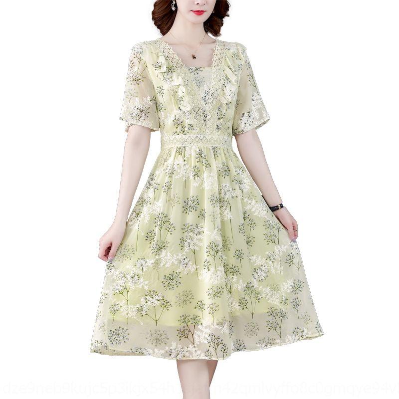 FOgHb de v-cou nouvelle robe d'été de la mode française fan de déesse féminine en mousseline de soie jupe en mousseline de soie WeDGX 2020 floral minceur élégante