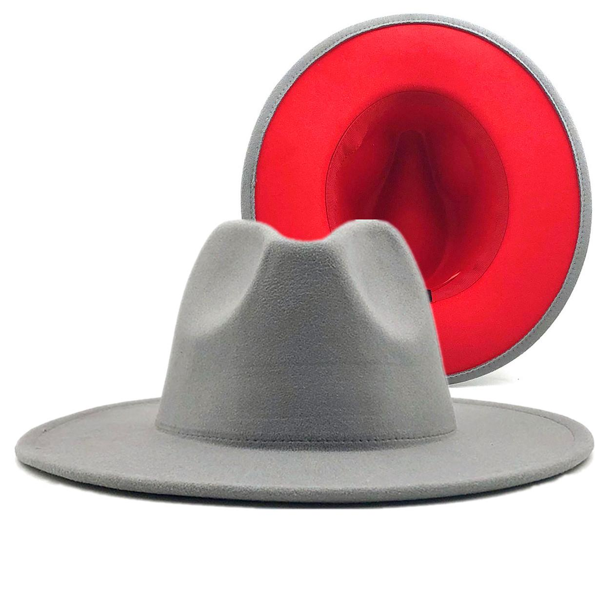 Caz Fedora Şapka Bayan Unisex Geniş Brim Panama Parti Trilby Kovboy Şapka Bay Gentleman Düğün Şapka XL CX200819 Keçe gri kırmızı Patchwork Yün