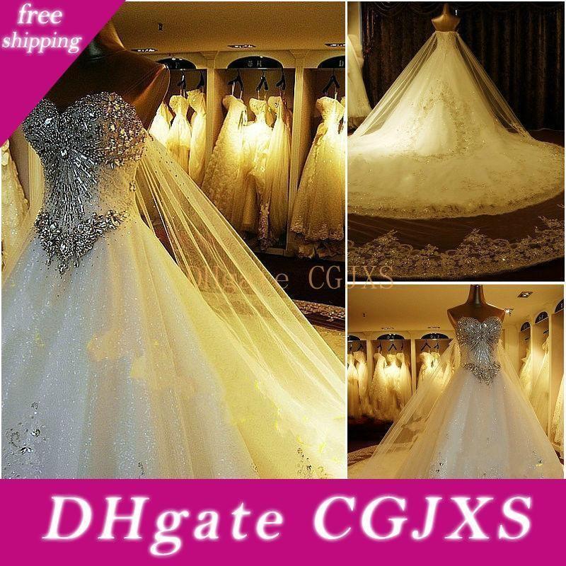 100% Real Imagem! 2019 Luxo vestido de baile vestidos de casamento querido Cristal Beaded Tulle Real vestidos de casamento Catedral Train Lace Up Voltar