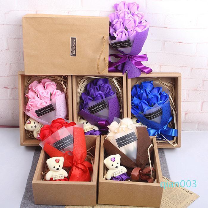 San Valentino regalo 11Pcs / Set Sapone Mazzo delle rose con la scatola rosa fiori decorativi del sapone del petalo del fiore favori di nozze Rose Bouquet XD23124