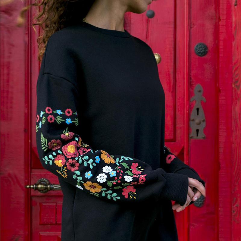 Elbise Kadınlar Kış Mini Elbise Klasik Çiçek Baskılı Uzun Kollu O-Boyun Gevşek Sıcak Siyah Streetwear Vestido 2020