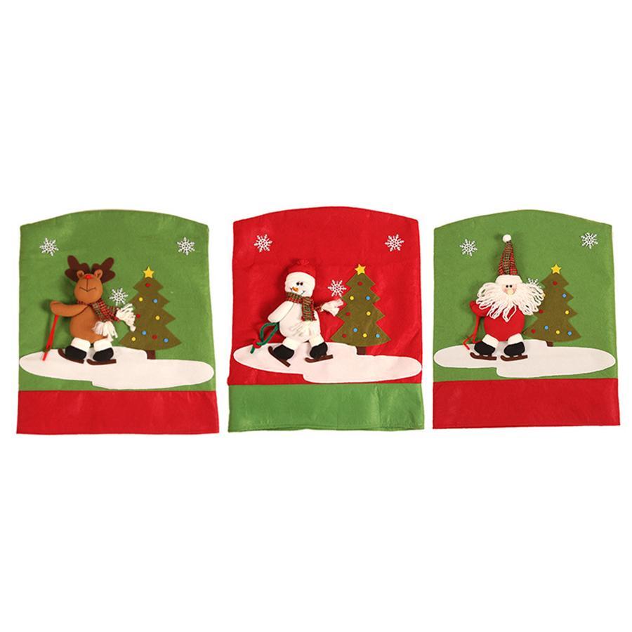 Weihnachten Rückenlehne Stuhl-Abdeckung Ausrutschen Weihnachtsmann Schneemann Deer Dinner Tischdekoration zu Hause Stuhl Cover-Rückseite neues Jahr-Dekor JK1910