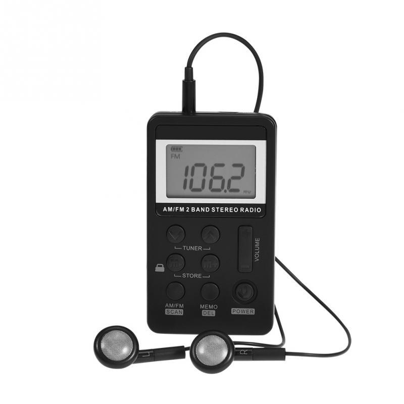 Hanrongda mini rádio portátil am / fm banda dual receptor de bolso estéreo com fone de ouvido LCD de bateria HRD-103