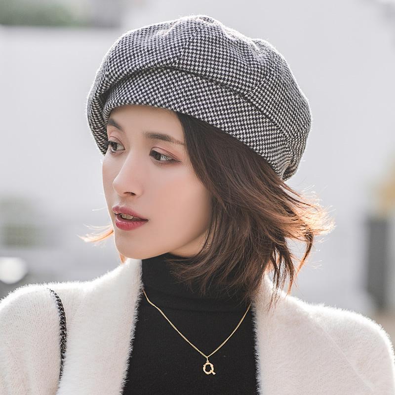 Simple femmes Béret laine pour femme élégante d'hiver Femme Coton Chapeaux Plaid Vintage octogonal Boina Casual Automne fille Cap Y200619