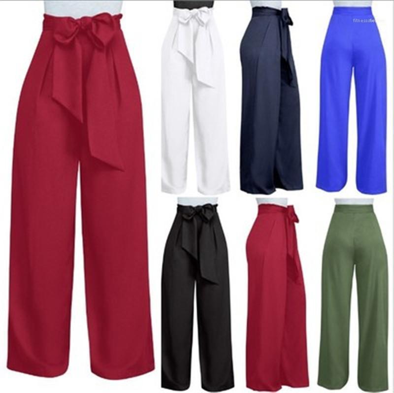 Pantaloni larghi lunghi Autunno Inverno a gamba larga Pantaloni donna Plus Size modo di stile europeo casuale a vita alta vita del legame pantaloni
