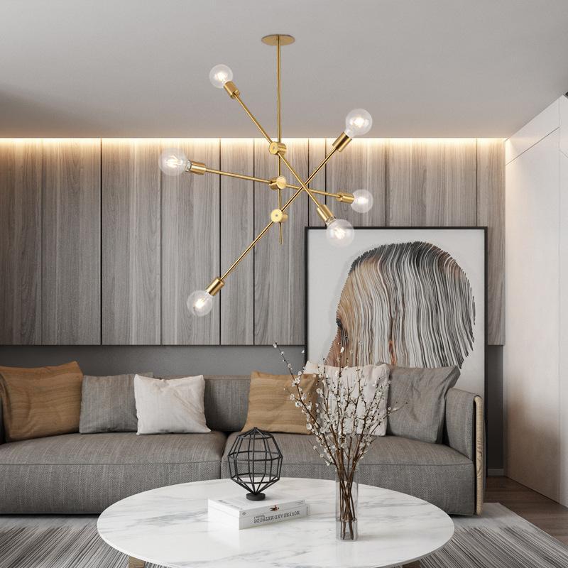닦 았된 황동 sputnik 조명기구 홈 LED 현대 금속 노르딕 포스트 모더 교수형 램프 광택