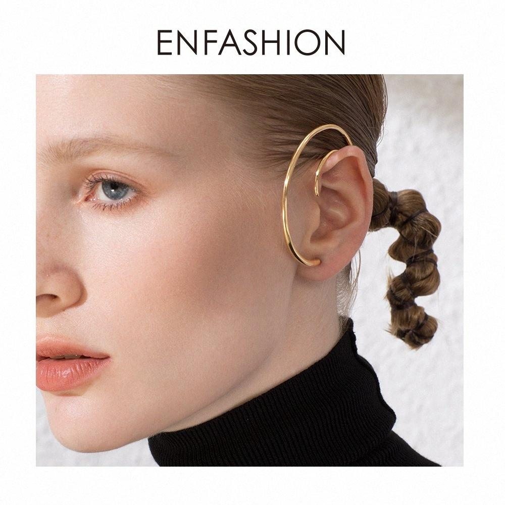 ENFASHION Big Circle Hoop Earrings For Women Accessories Gold Color Statement Ball Curve Hoops Earings Fashion Jewelry E191122 KsxY#