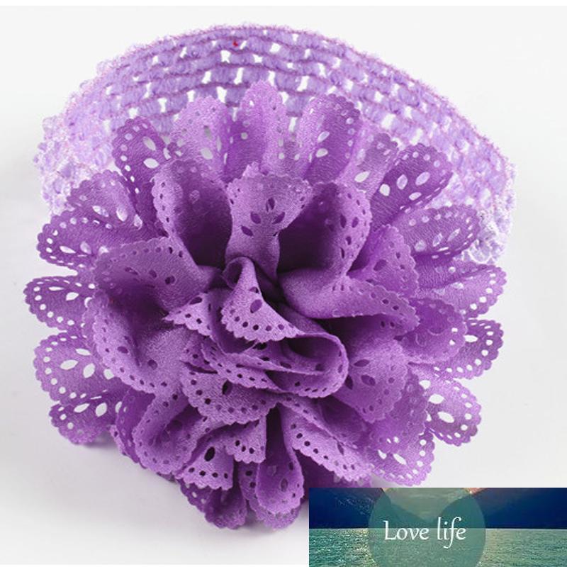 Neuer heißen Verkauf-10 Farben Kinder Chiffon Spitze-Blumen-Häkelarbeit-Stirnband-Baby-Mädchen-elastische Stirnbänder lot verkleiden Haarschmuck Schnelle Lieferung
