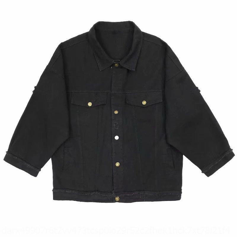YXIGG MsSyF Primavera e estilo denim outono jaqueta masculina solta jaqueta buraco versátil top estudante moda ins ferramental coreano