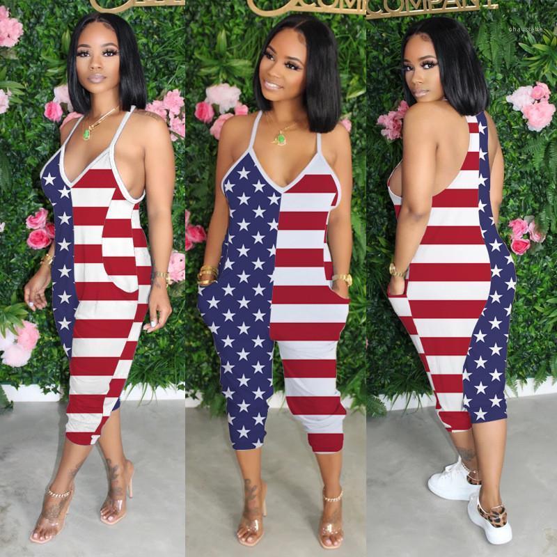 Femmes Tenues Camisole été Bodysuit Casual lâche Corsaires Pantalons Mode Femme barboteuses Drapeau du E.U.A. col en V