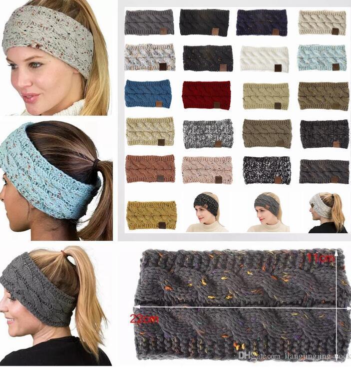 Les femmes d'hiver Boucle Crochet Tricoté Bandeau Sport Bouton Headwrap Hairband Turban Head Band Ear Warmer Bonnet Cap Bandeaux WY789