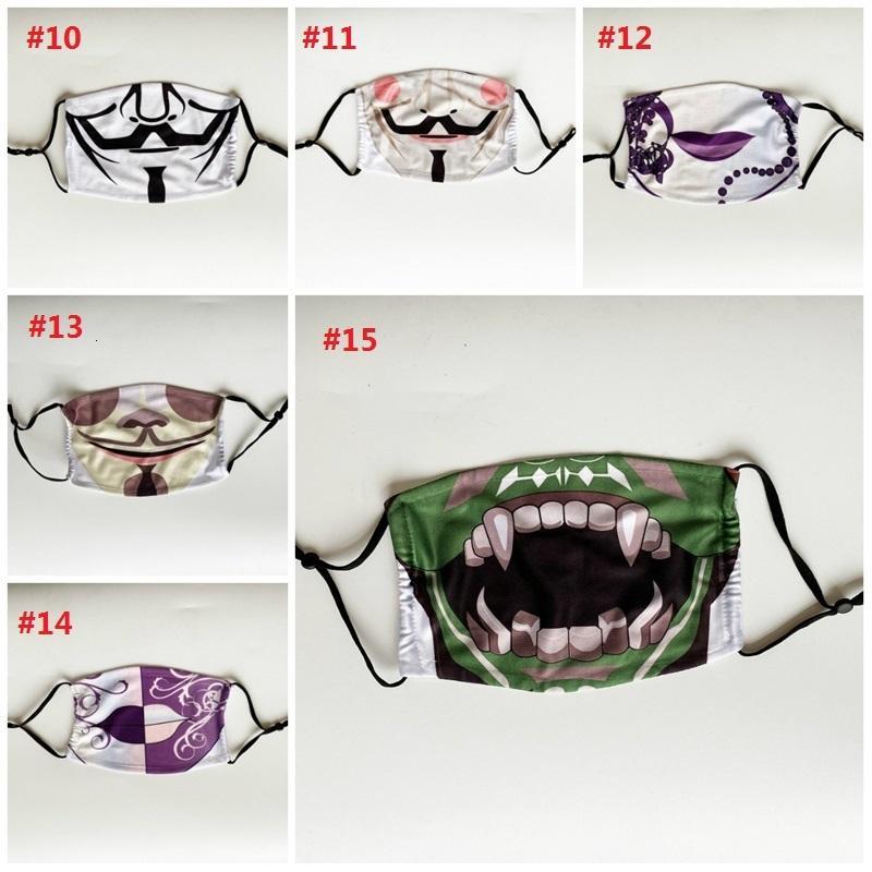 Breathable 15 Styles von Halloween und Staubdichtes Masken Eine einstellbare Zwischenschicht mit einem Digital Print Mask T3i5973