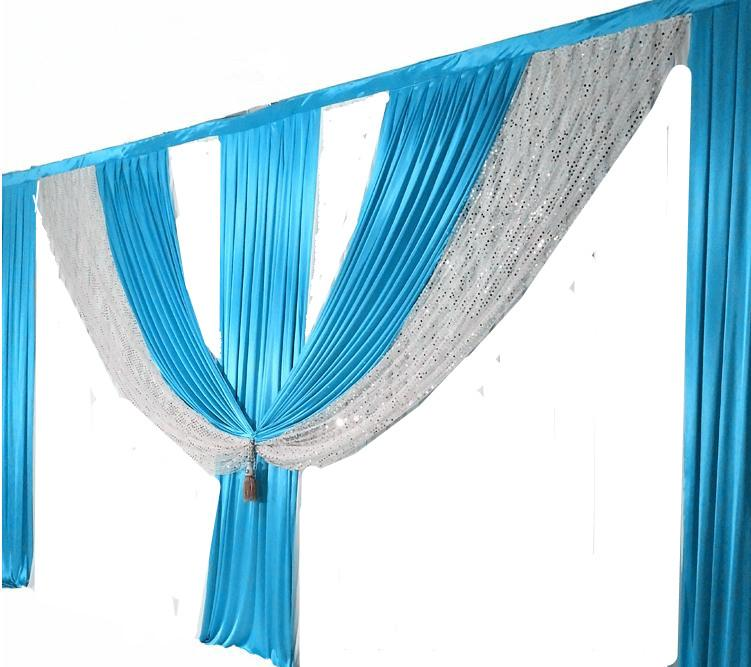 6M length teal blue wedding swags backdrop curtain event party stage background drapes wedding decoration
