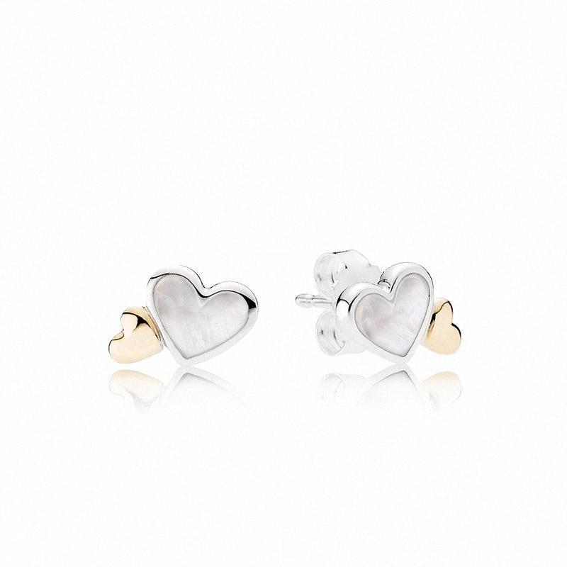 Authentic 925 White Heart brincos para Pandora CZ diamante casamento Ouro 14K Brinco com a caixa original ajustou nSxG #