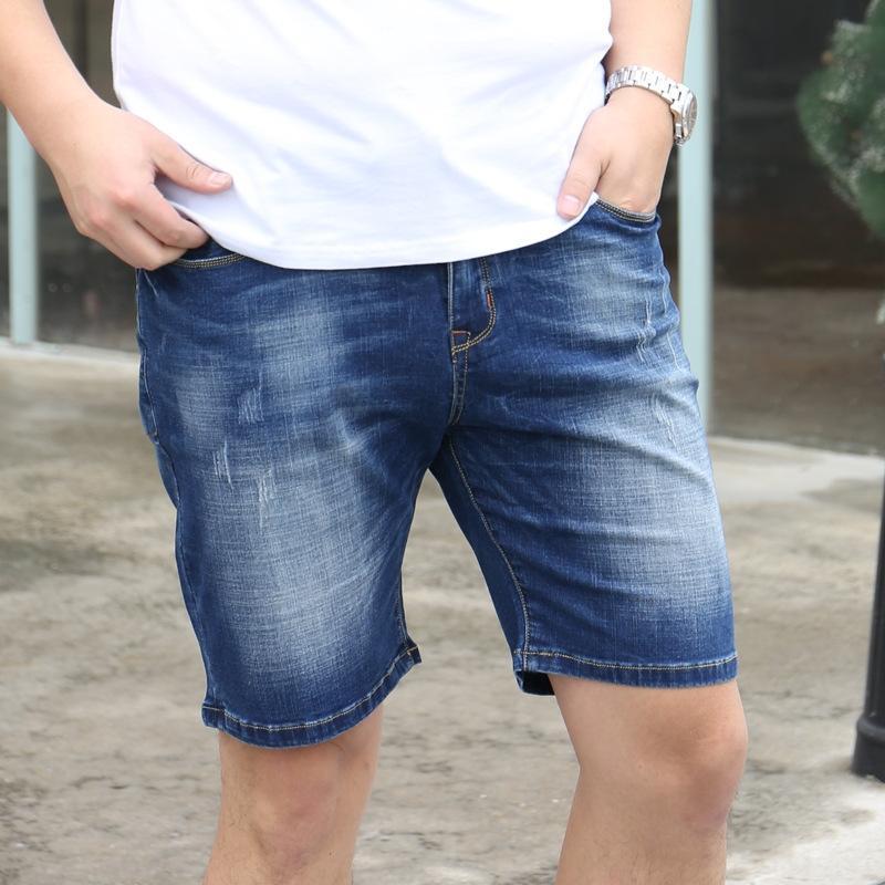 i2OZM Shorts Sommer Hosen und Hosen Kurzschlüsse der Männer und dünn plus Größe und Fett Fett elastische Reithose 5-Viertel-Denims mittlere Hosen trwKA t