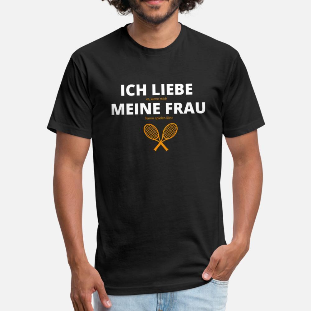 % 100 pamuk Mürettebat Boyun erkek Spor Komik yaz Normal gömlek yazdırma Ich Liebe Meine Frau Tenis t gömlek erkekler