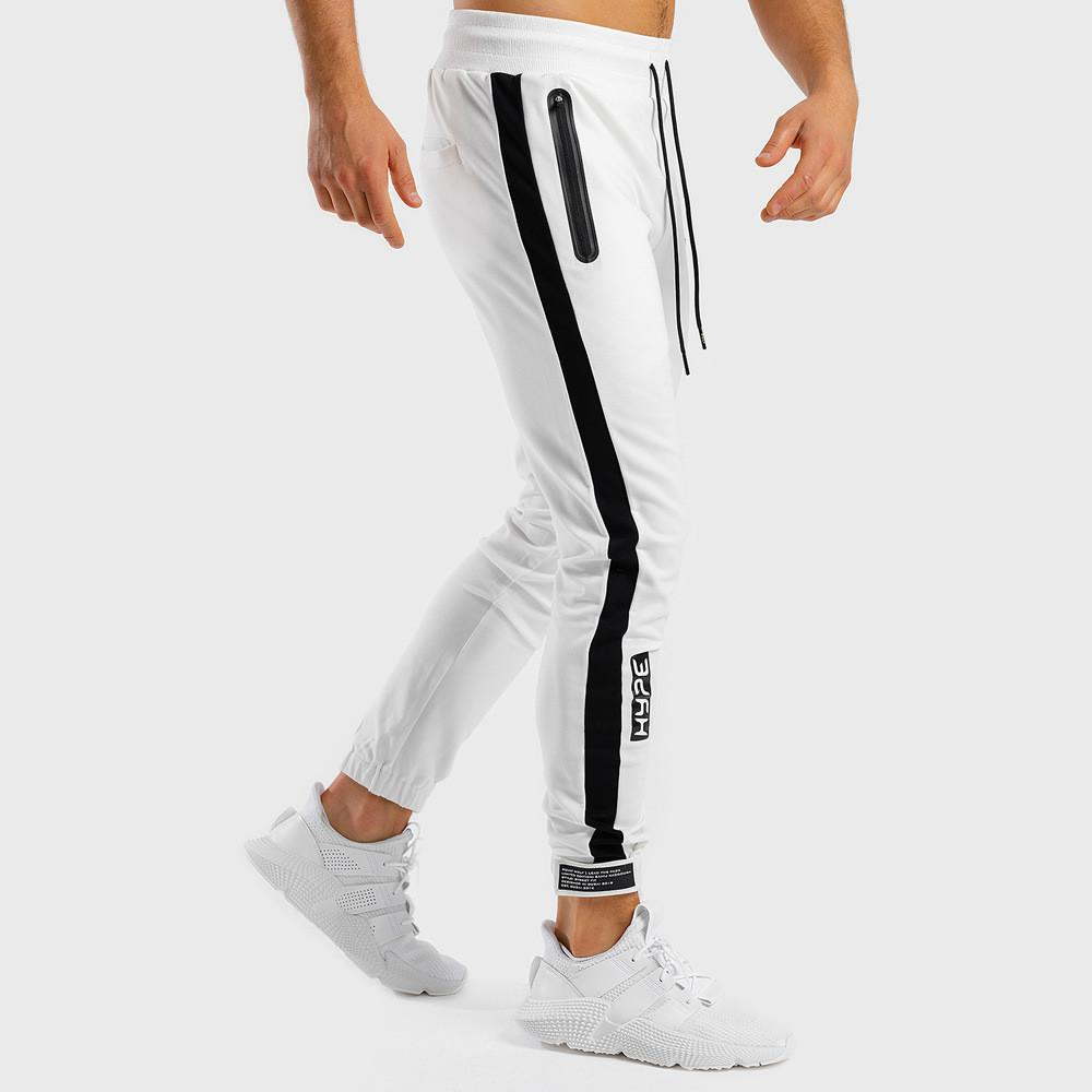 Beyaz Jogger Sweatpants Erkekler Rasgele Sıska Pamuk Pantolon Gym Fitness Egzersiz Pantolon Erkek İlkbahar Spor eşofman altı Bottoms 200925