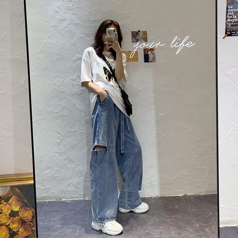 ATLeX Z52hX 2020 de gran tamaño que adelgaza los pantalones vaqueros de pierna ancha pantalones de papá del verano del nuevo estilo coreano pantalones rotos de las mujeres anchas de alta cintura de las mujeres rectas l