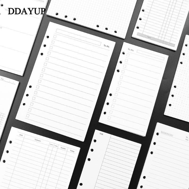 A5 A6 da folha solta Notebook Planner Refill espiral Binder Inner página do diário semanal mensal Para Do List linha Dot Paper Dentro da grade
