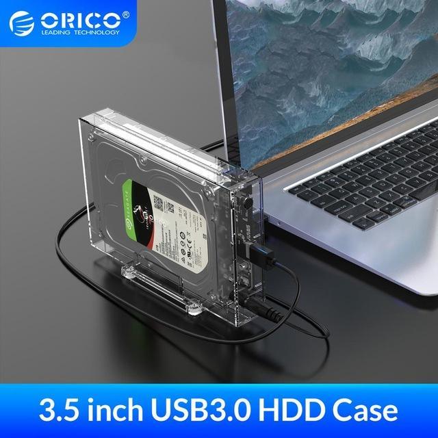 HDD ORICO 3,5 pulgadas SATA a USB 3.0 Caja HDD con la ayuda del sostenedor 12 TB Max transparente Caja para disco duro