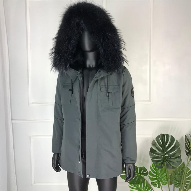 Men's Down & Parkas Natural Lined Fur Parka-Coat Hooded Windproof Male Jacket Winter Casual Fashion High-Quality Jackets